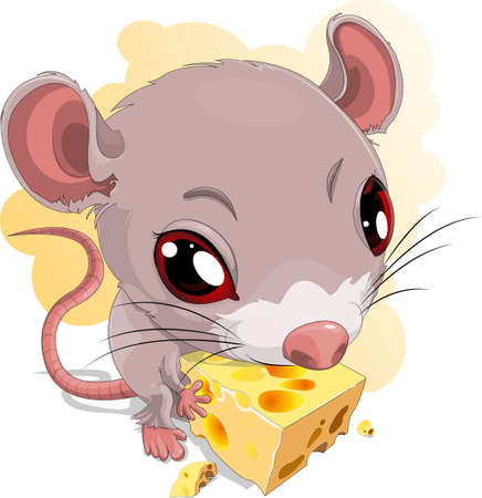 mouse and chees Vector