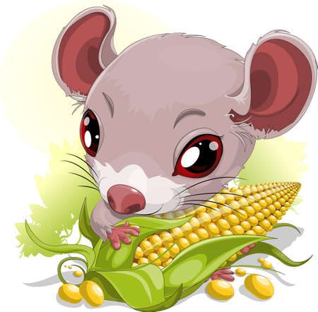 mouse with corn Vector