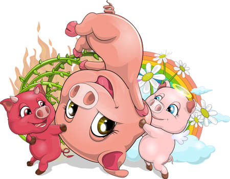 the animated film: pigs Illustration