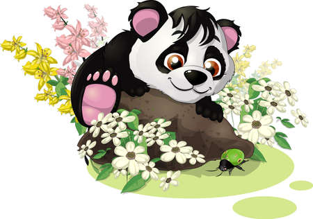 panda and bug Vector