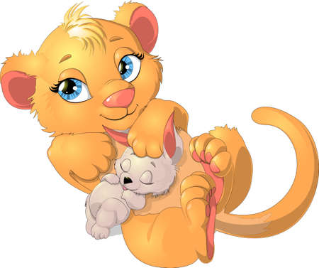 lion and rabbit Vector