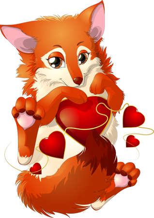 Fox And Four Hearts Illustration