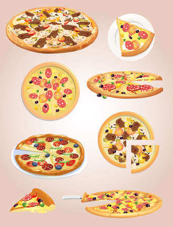 pizza ingredients: pizza Illustration
