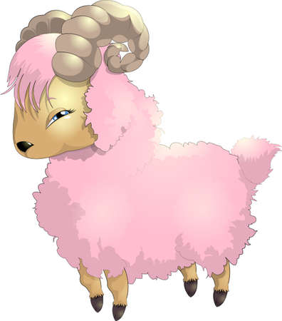 pink goat Vector
