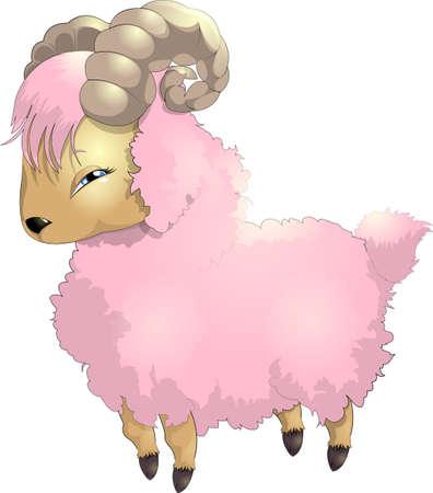 shepherd with sheep: pink goat