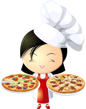 pizza girl Vector