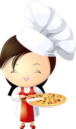 trimmings: pizza girl Illustration