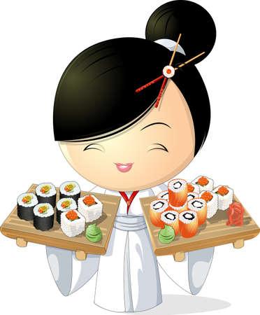sushi meisje Stock Illustratie