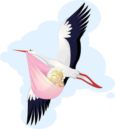brings: the stork brings the child Illustration