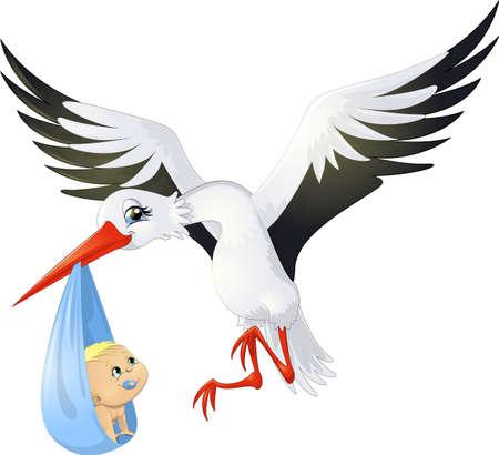 the stork brings the child Illustration