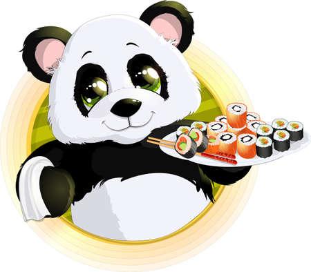 childishness: Panda sushibeautiful Panda holding in his paws a tray of sushi Illustration