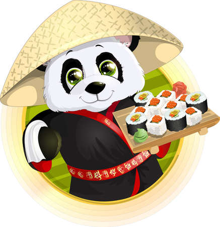Panda sushibeautiful Panda holding in his paws a tray of sushi Illustration