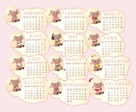 ewe: beautiful calendar with sheep on a white background