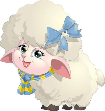 cloven: beautiful sheep with bow and scarf on white background