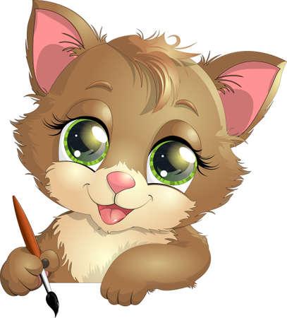 美しい子猫占領白地に描かれたお気に入りのもの