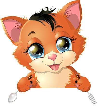 cat eating: beautiful kitten occupied favorite thing painted on a white background Illustration