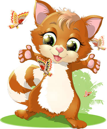 beautiful kitten occupied favorite thing painted on a white background Illustration
