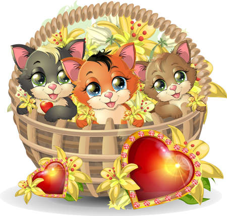beautiful bright kittens in a basket, on a white background