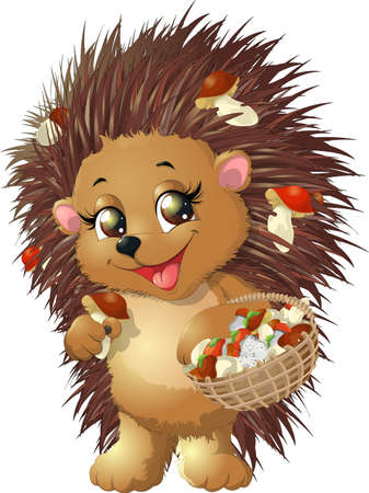 hedgehog holds in paws a basket of mushrooms on white background Vectores
