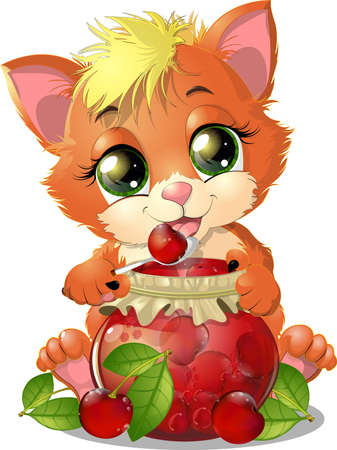 kitten holding a jar of jam in their paws on white background Banco de Imagens - 34436965