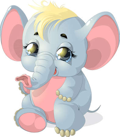 beautiful little elephant who sits on a white background