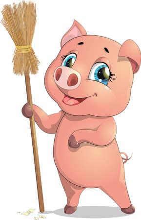 白い背景の上のほうきを持つ面白い豚
