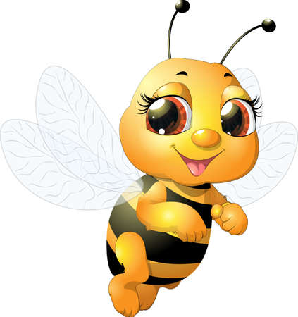 beautiful bee which narisovana on white background Ilustrace