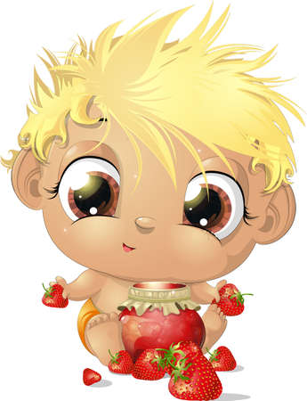 baby cartoon: child eating strawberries all drawn on a white background