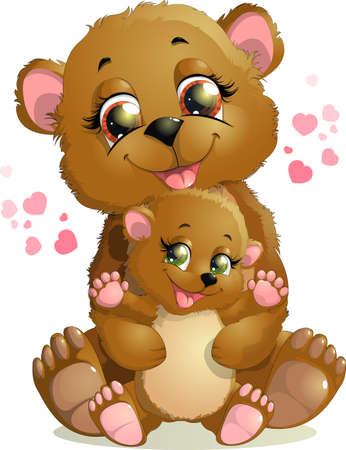 beautiful bear hugs her little Teddy bear on white background