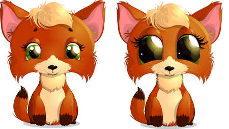sly: beautiful Fox in two versions painted on a white background