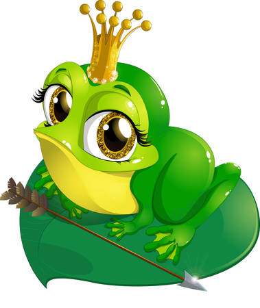 bullfrog: Princess the frog that sits on a sheet of water lilies on a white background