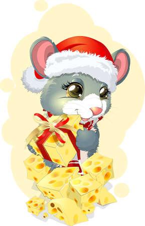 rata caricatura: rat�n hermoso en la tapa con queso en el fondo blanco
