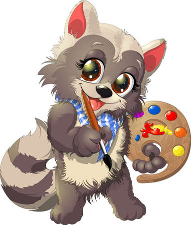 beautiful and cute raccoon artist with a tablet and paint on a white background