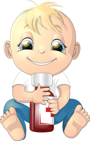 A child holds a bottle of medicine on a white background Vector