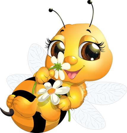 bee: красивый пчела, которая narisovana на белом фоне Иллюстрация