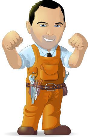 cartoon worker: trabajador de dibujos animados con herramientas sobre un fondo blanco Vectores