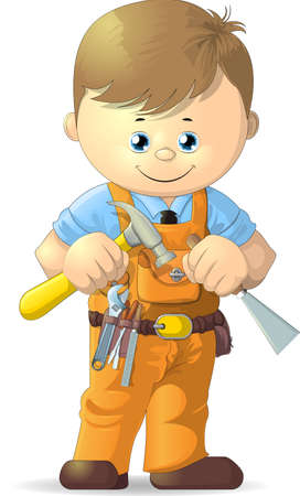 belt up: cartoon worker with tools on a white background