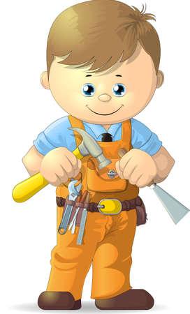 worker cartoon: trabajador de dibujos animados con herramientas sobre un fondo blanco Vectores