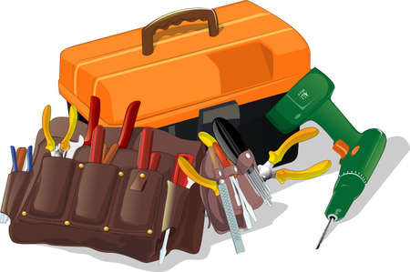 construction equipment: tool box and drill over white background Illustration