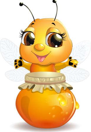 白い背景に、蜂蜜を扱うに蜂