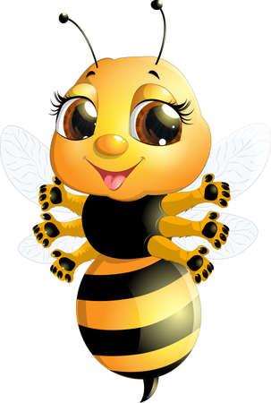 abeja reina: abeja sobre un fondo blanco, que se ocupa de la miel