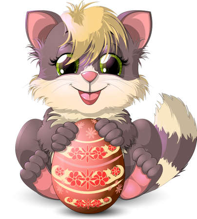 kitten who holds in paws an Easter egg