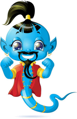 beautiful genie from the magic lamp on a white background