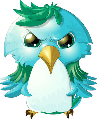 cute birds: pretty angry bird painted on a white background Illustration