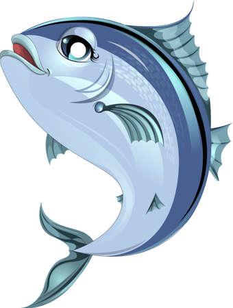 ジャンプ白地に描かれた美しい魚