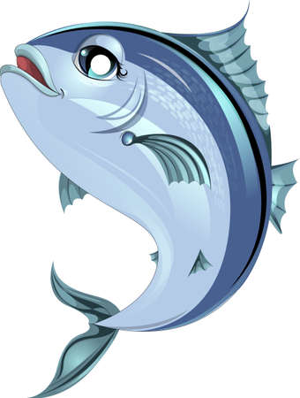 beautiful fish painted on a white background jumping Vector