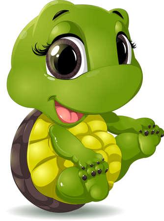 tortuga caricatura: pequeña tortuga que se sienta en un fondo blanco