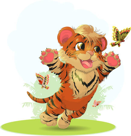 cartoon insect: cub playing with butterflies in the meadow