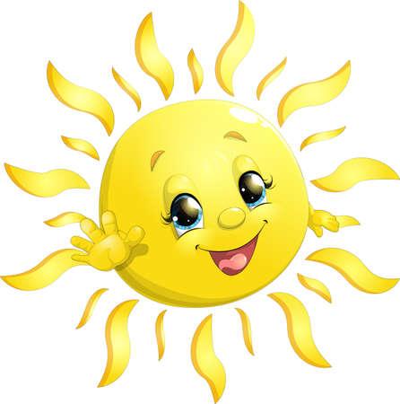 흰색 배경에 아름 다운 밝은 태양 일러스트