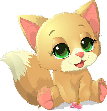 congratulating: beautiful kitten who painted on a white background with a pacifier